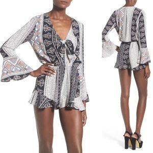 Leith Nordstrom tie front boho bell sleeves romper